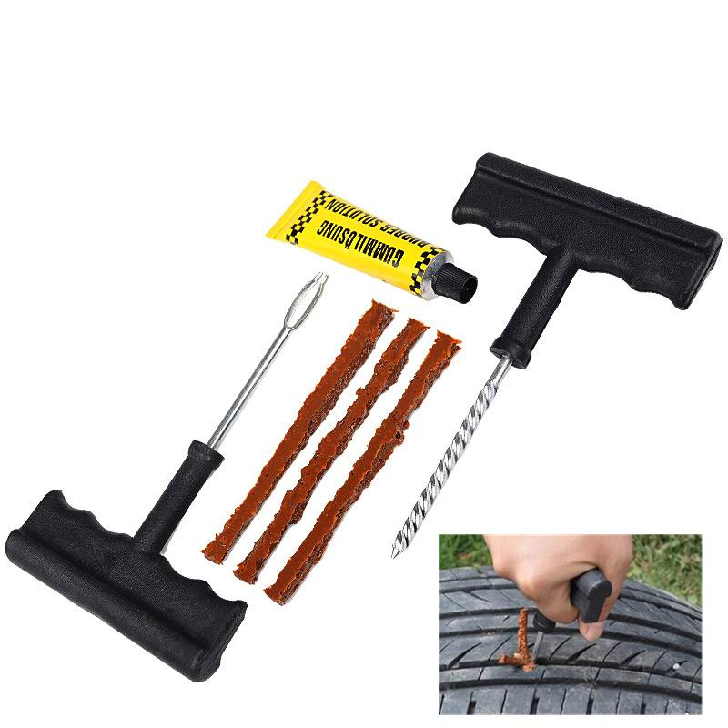 2017 New Car Tire Repair Tool Kit For Tubeless Emergency Tyre Fast Puncture Plug Repair Block Air Leaking For Car Truck Motobike(China (Mainland))