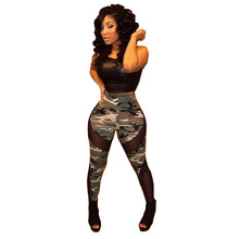 Women new fashion sleeveless o neck camo print mesh patchwork skinny sexy night club jumpsuits and rompers for women TM0472