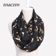 2017 New Design Fashion Women Cotton Black Deer Pattern Ladies Neck Warm & Decorative Ring Scarf(China (Mainland))