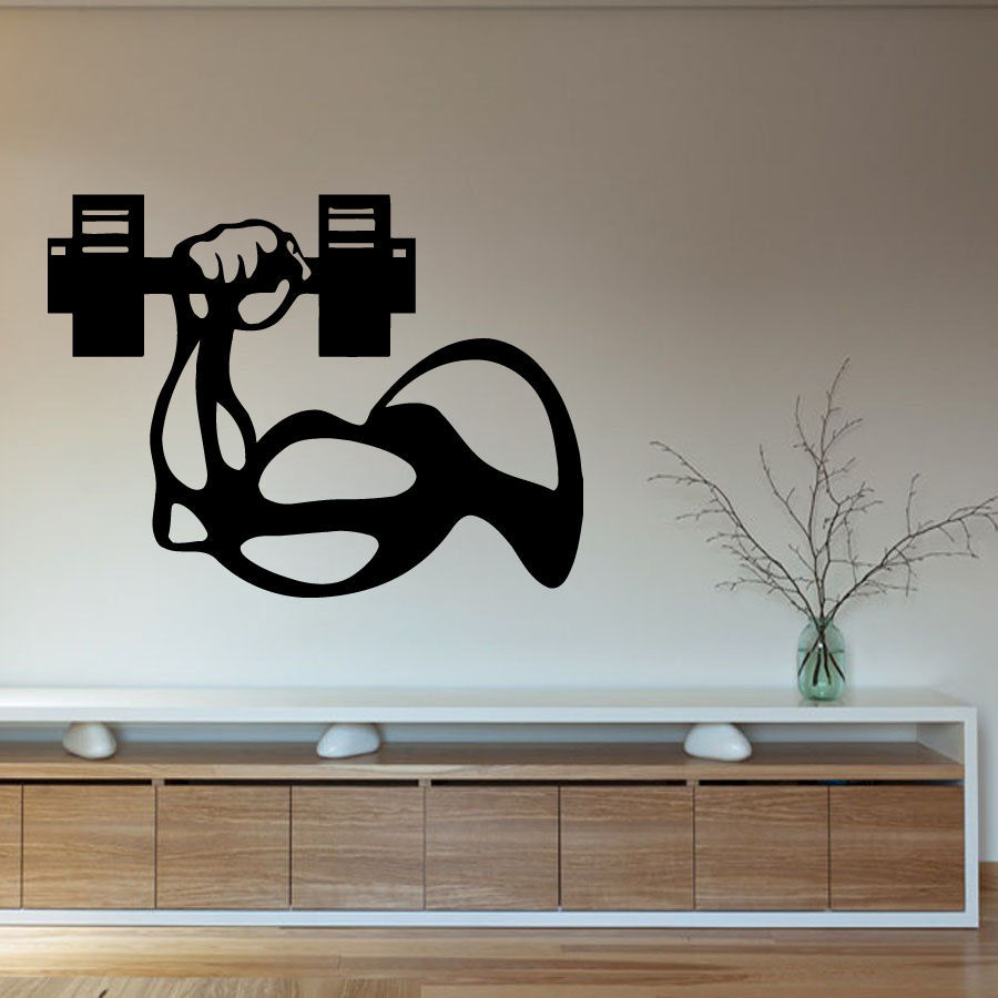 Fitness vinyl wall decal bodybuilder man hand dumbbell gym interior decor art - Decoration mural design ...