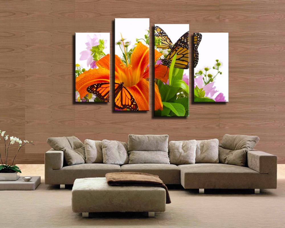 Acheter vente chaude 4 panneau fleur for Peinture chaude pour salon