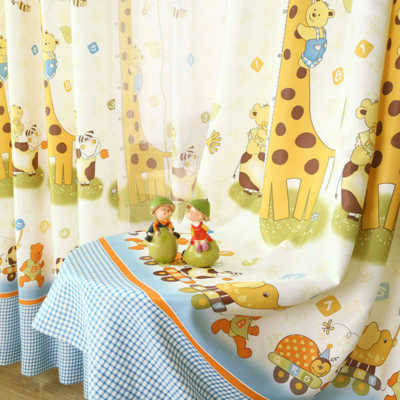 Free Shipping 2016 Korean Style kids Curtain For Baby Room Living Room Cute Giraffe Pattern Children Cheap Curtains Set(China (Mainland))