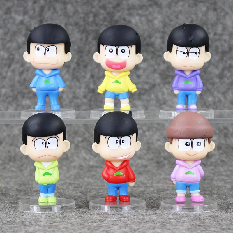 6pcs/lot Osomatsu-san Mr osomatsu san Karamatsu Ichimatsu PVC Figures Kids Toys Collection Doll 6cm(China (Mainland))