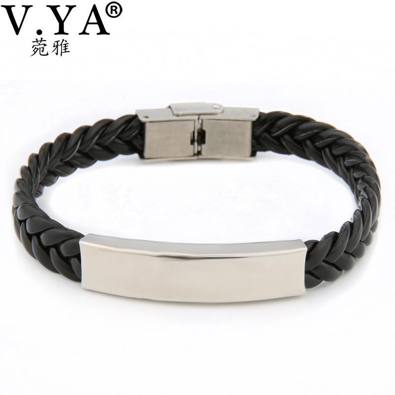 Laser Engrave Service Lovers' Jewelry Women Men Leather Wrap Bracelet Fashion Stainless Steel Clasp 01-1(China (Mainland))