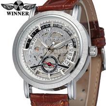 Wrg8077m3s2 ganador estrenar llegada hombres automáticos de reloj esqueleto de color marrón pulsera banda de cuero envío libre