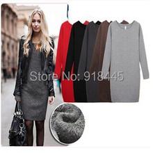 Fashion Long Sleeve Women Winter Dress Plus Size red black autumn dress vestidos casual office dress free shipping gowns LYQ4(China (Mainland))