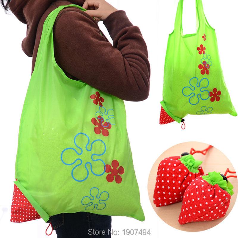 1 PCS Eco Storage Handbag Strawberry Foldable Shopping Bags Beautiful Reusable Bag(China (Mainland))