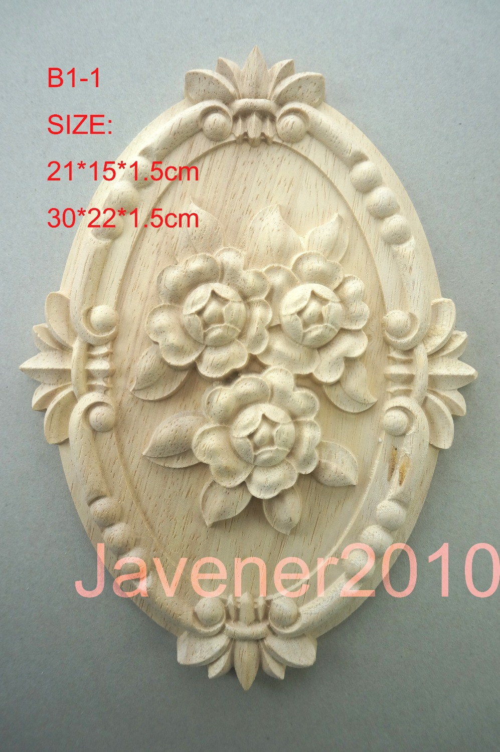 B1-1 -21*15*1.5cm Rubber Wood Carved Carving Round Onlay Applique Architectural Cabinet Furniture Door Unpainted Wall(China (Mainland))