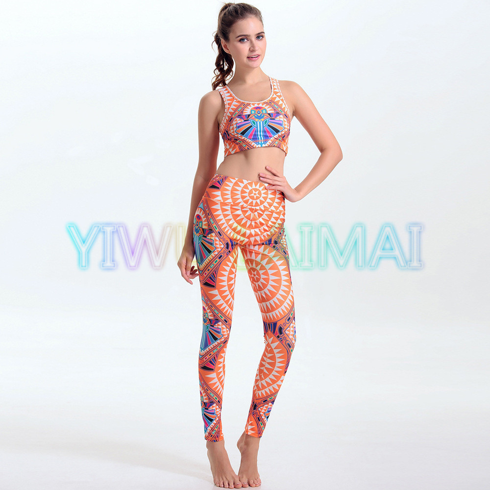 YIWU LAIMAI Women's Yoga sets Azetec Fabulous Eco-friendly performance leggings Pilates Studio Fitness apparel Quality Bras(China (Mainland))