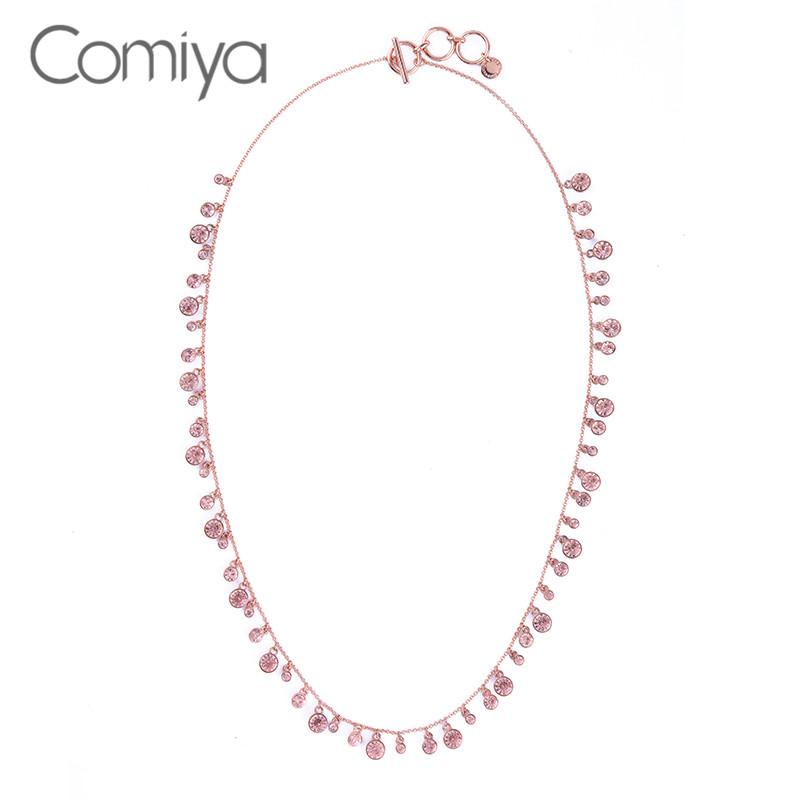 Comiya Romantic fashion bijoux jewelry women long chain round accessories necklaces colar pink acrylic crystal decoration cc(China (Mainland))