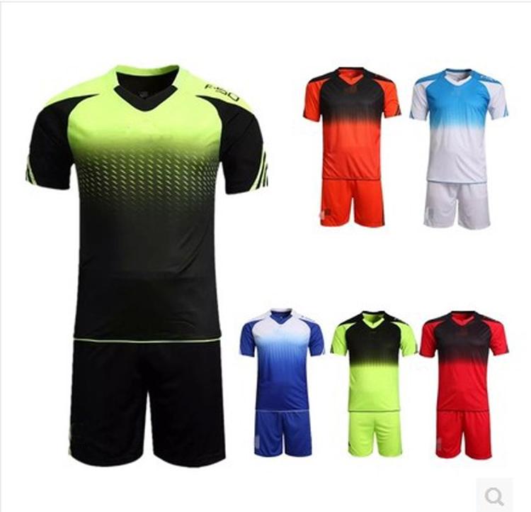 custom made 2016 New Men's Soccer Jerseys Blank Training Set 15-16 Soccer Uniform Plain Football Suits Customize Logo Name(China (Mainland))