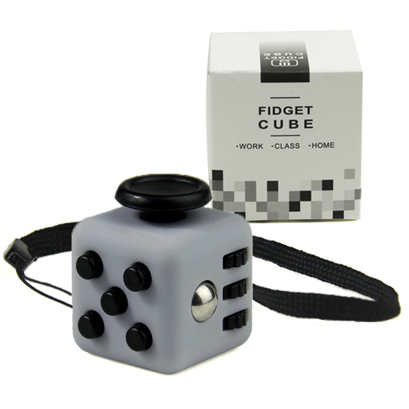 Mini Fidget Cube Vinyl Desk Toy Keychain Squeeze Fun Stress Reliever 2.2cm 11 Colour Click Glide Flip Spin Breathe Roll With Box(China (Mainland))