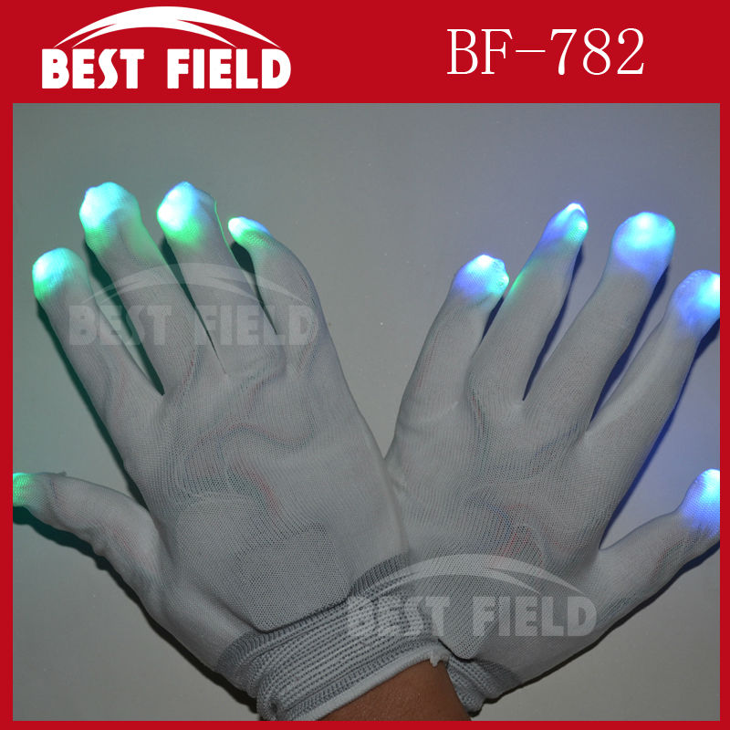 Free Shipping 10pcs(5pairs)/lot 22*11CM 7mode Nylon LED Rave Light Finger Glow Mitt Night Club Lighting Flashing Gloves White(China (Mainland))