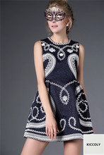 kiccoly 2016 fashion Italy Dress Girl brand summer dress Disk rope embroidery dress family matching outfits maxi Women dress
