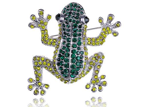 Poison Dart Leap Frog Amazon Emerald Peridot Green Crystal Rhinestone Pin Brooch [US Stock](China (Mainland))