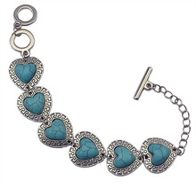 High Quality Vintage Silver Bangle Bracelet Jewelry Accessories Heart Shaped Nature Turquoise Stone Bracelet for Women(China (Mainland))