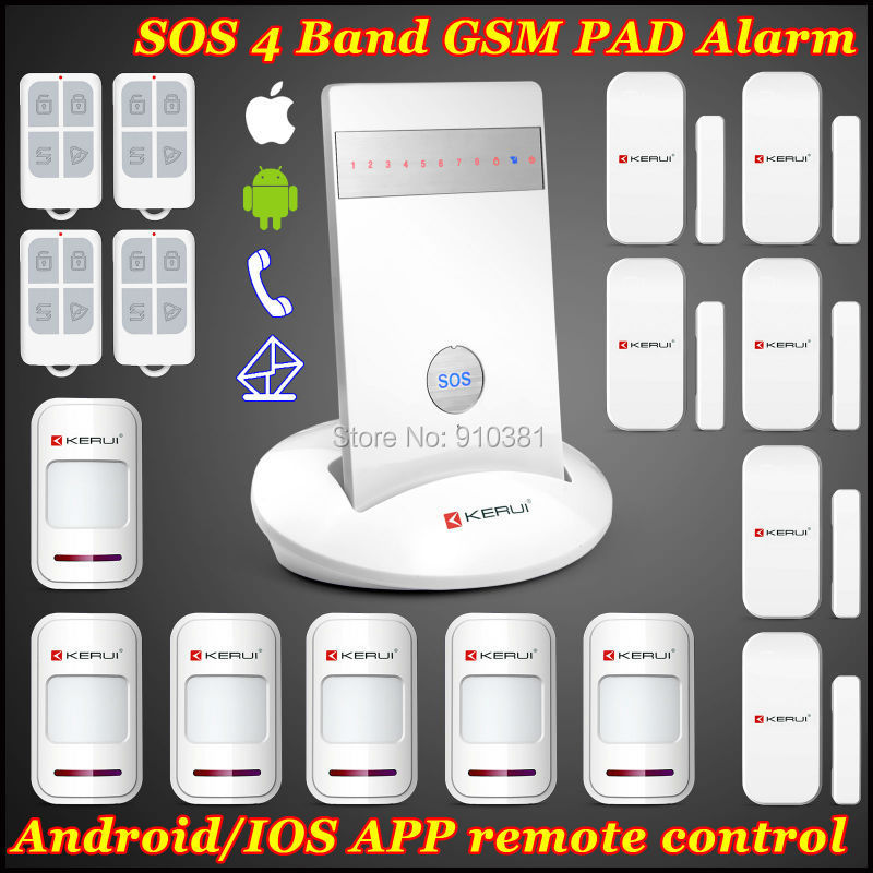 KERUI IOS/Android APP Remote arm/disarm GSM SIM SMS Wireless zones Intruder Magnetic Autodial Wireless Home Voice Smart Alarme<br><br>Aliexpress