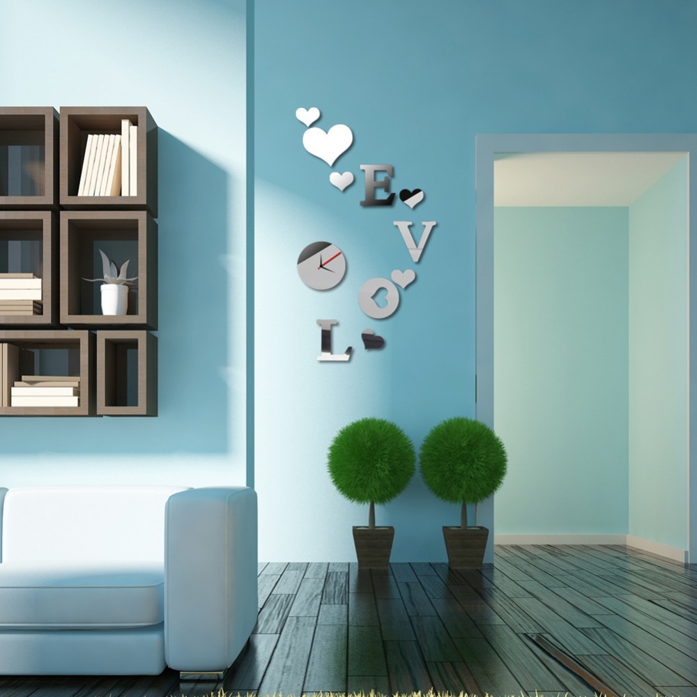 DIY Acrylic Mirror Effect Wall Clock Sticker LOVE Decal Fashion Home Decor No Shipping Fee ME3L(China (Mainland))
