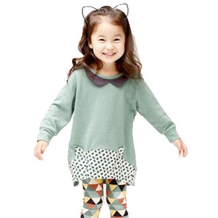 fashionable sweet doll collar children long style clothing sets sport shirt+pants(China (Mainland))