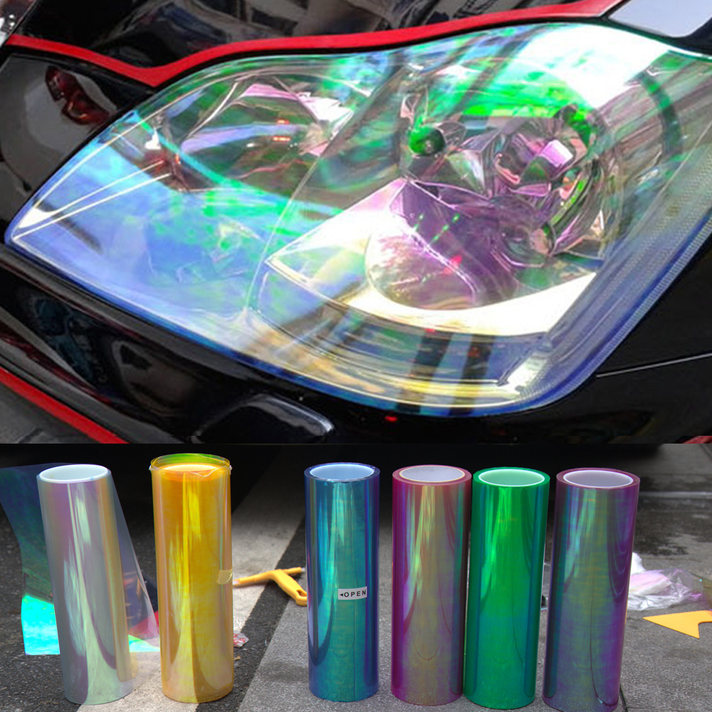 120*30cm Shiny Chameleon Auto Car Styling headlights Taillights Translucent film lights Turned Change Color Car film Stickers(China (Mainland))