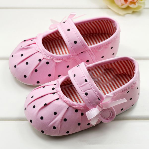 Infant Girls Shoes Soft Bottom Shoes Polka Dot Flower Toddler Shoes Baby Shoes NEW SM67(China (Mainland))