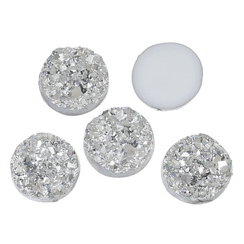 "Resin Embellishments Findings Round Silver 12.0mm( 4/8"") Dia, 5 PCs 2015 new"