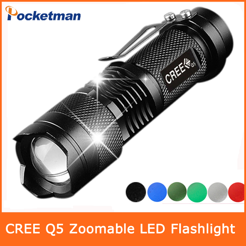 Mini Powerfull LED Flashlight CREE Q5 2000LM LED Laterna 3 Modes Zoomable Portable 6 Colors Torch penlight 1*AA/1*14500 ZK93(China (Mainland))