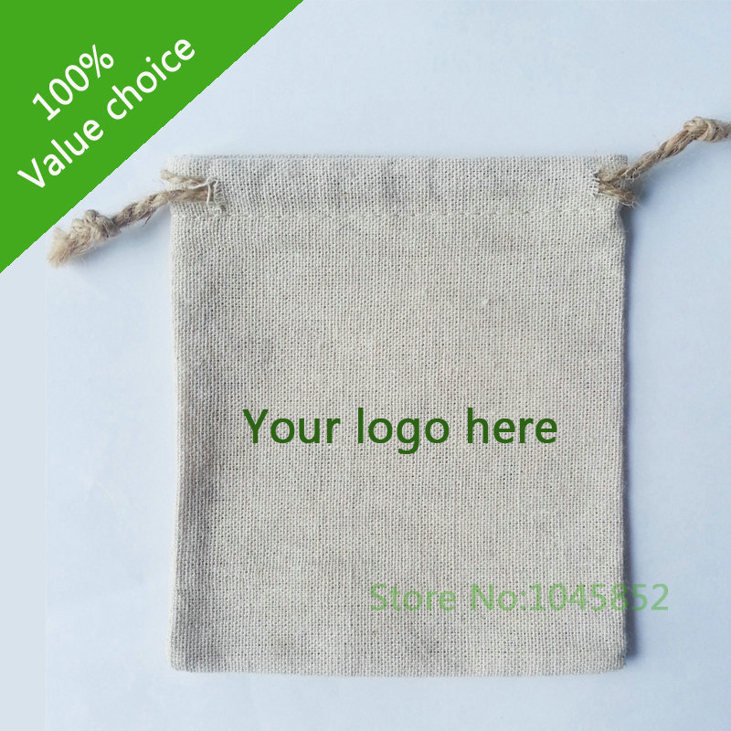 1000 pcs/lot W13*H17cm Custom printed Small Jute drawstring bag for storage Linen gift packaging bag With one color logo(China (Mainland))