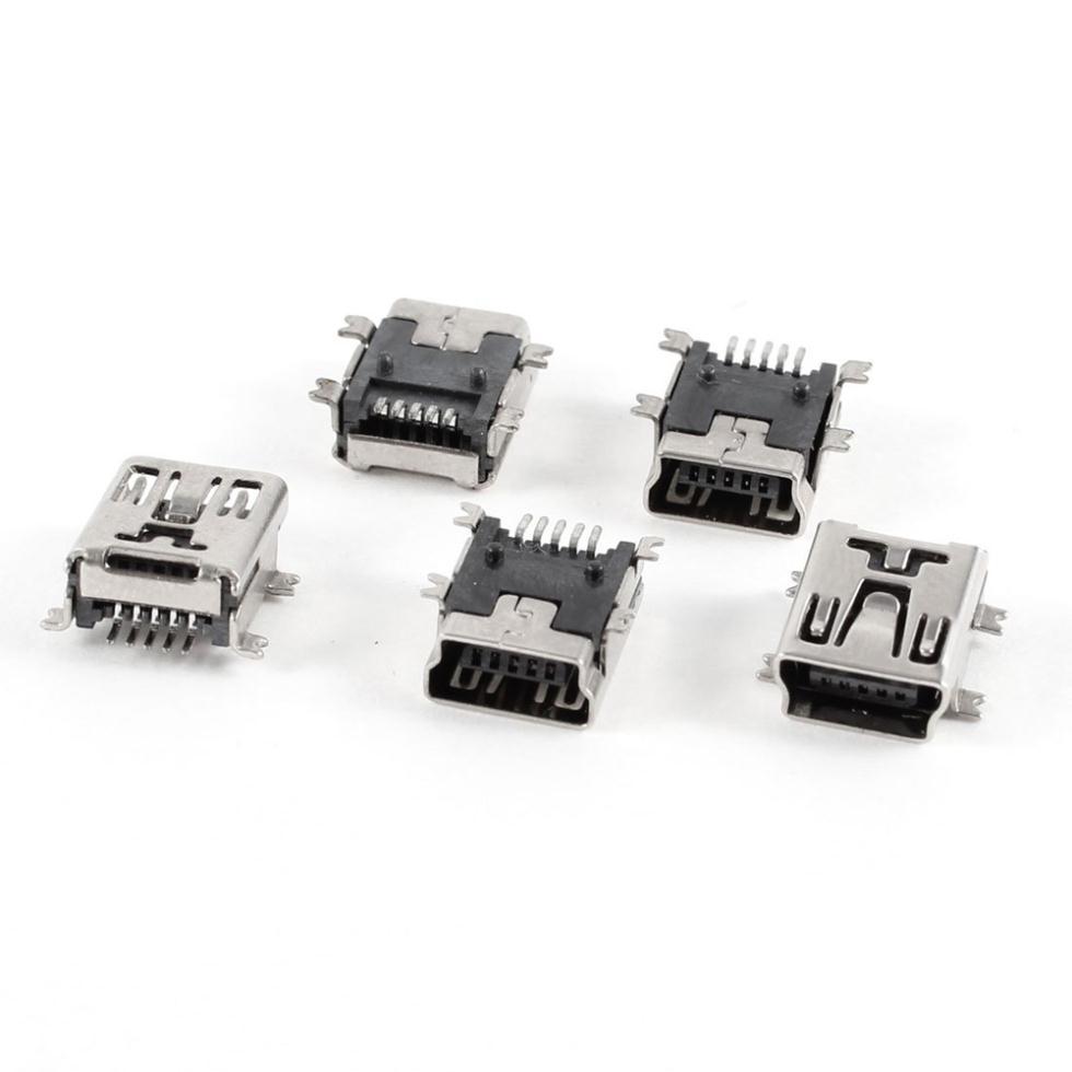 2015 Hot 5 pcs Mini USB Type B Female Port 5 Pin 180 Degree SMD SMT