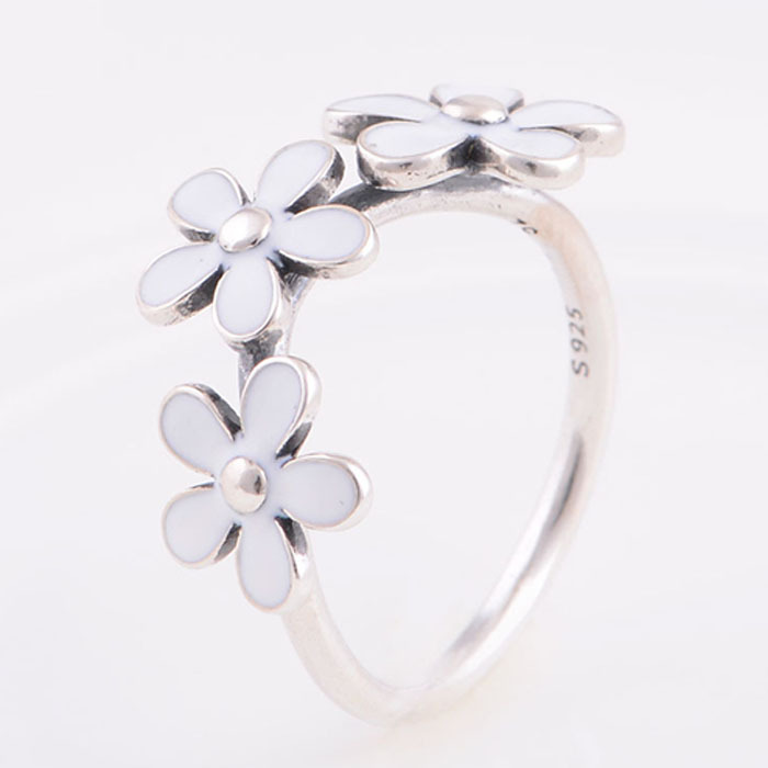 Rings Compatible with Pandora Style Authentic 925 Sterling Silver Daisy Flower Engagement Ring for women DIY Jewelry Wholesale(China (Mainland))