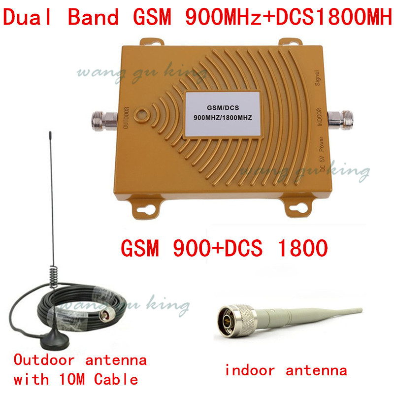 Hot ! Mobile Phone Dual Band GSM DCS Signal Booster Cell Phone GSM 900MHZ DCS 1800MHZ Signal Repeater amplifier Cable + Antenna(China (Mainland))