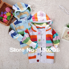 kids cardigan knitted sweater Spring Colorful striped wild baby boys and girls hooded children sweater()
