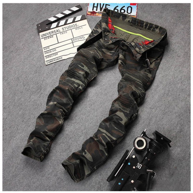 New Mens Camouflage Jeans Motocycle Camo Military Slim Fit Famous Designer Biker Jeans With Zippers Men AY971(China (Mainland))