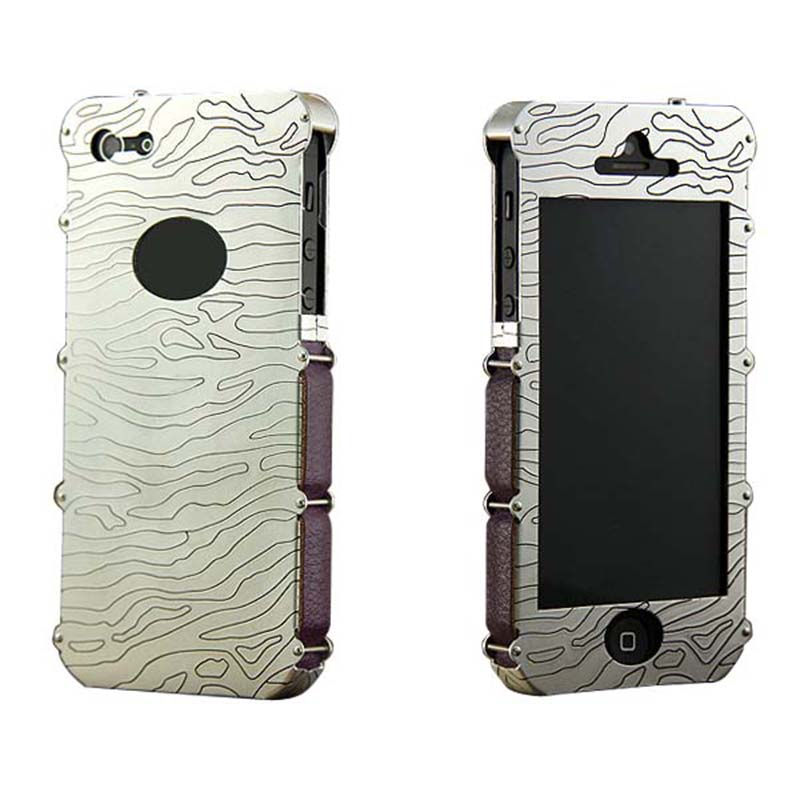 On Sale SHOWKOO Armor Genuine Leather Case Aluminum Case for iPhone 5 5S SE Phone Cases Exquisite Craft Hand Carved Metal(China (Mainland))