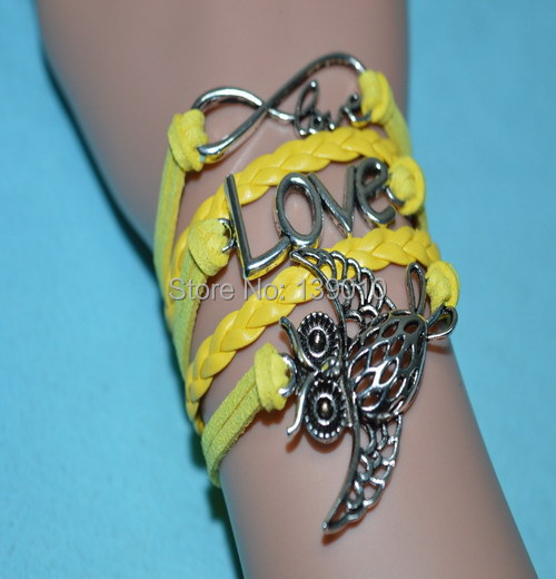 Free Shipping!6PCS/LOT!New Designer Yellow Leather Suede Charm Bracelet Trendy Owl LOVE With Infinity Lucky Brand Jewelry W-269(China (Mainland))