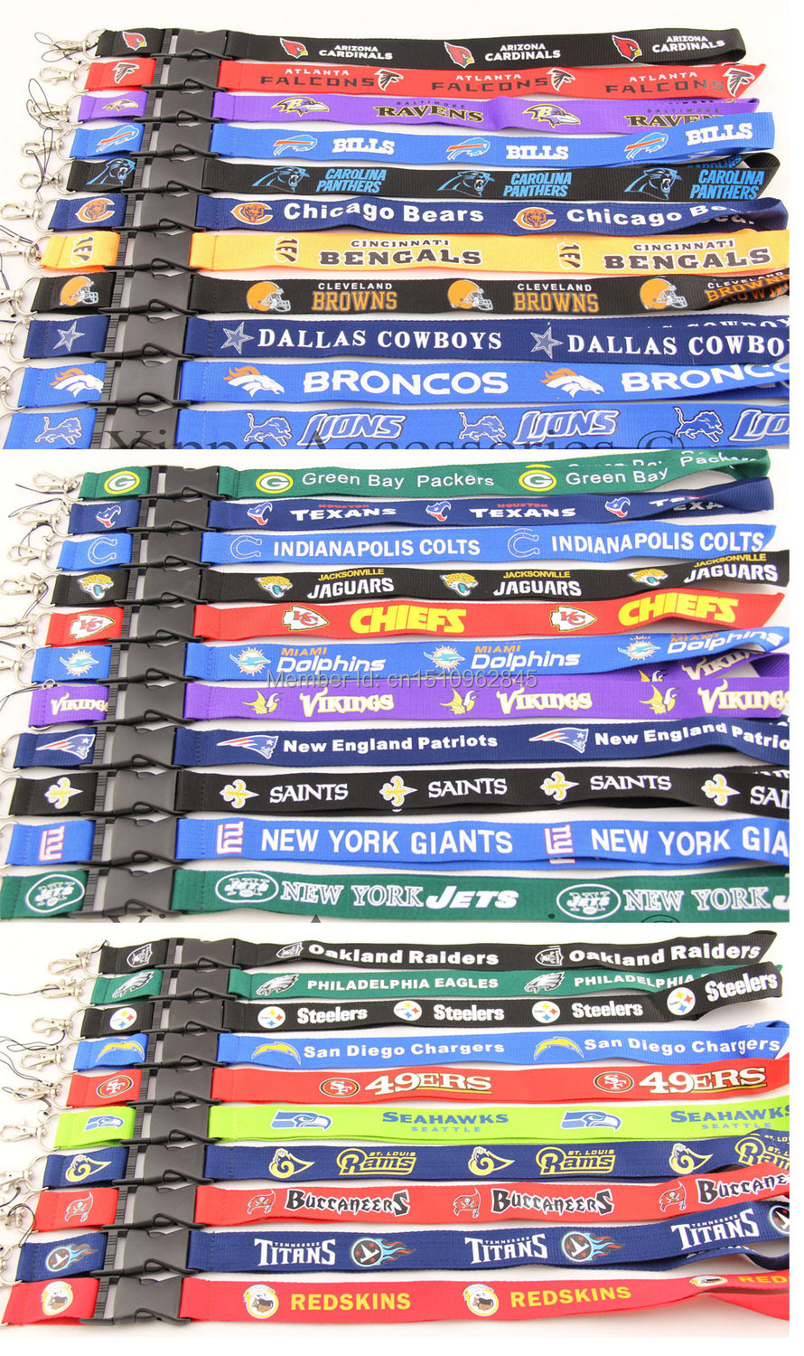Wholesale lots of 60 pcs sport NFL lanyards Key chain neck lanyard ID holders for collection Mix order 32 teams can choose(China (Mainland))