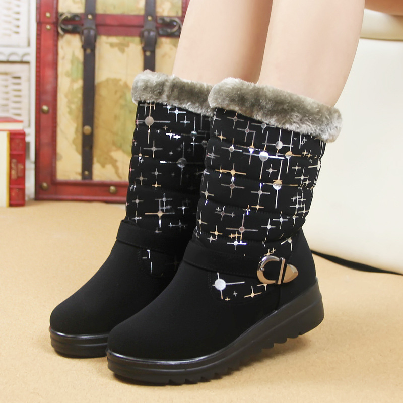 2016 Promotion Medium(b,m) Rain Boots Bota Feminina New Winter Female Cotton Warm Snow Slip Padded Shoes Casual Student - LET 'S GO store