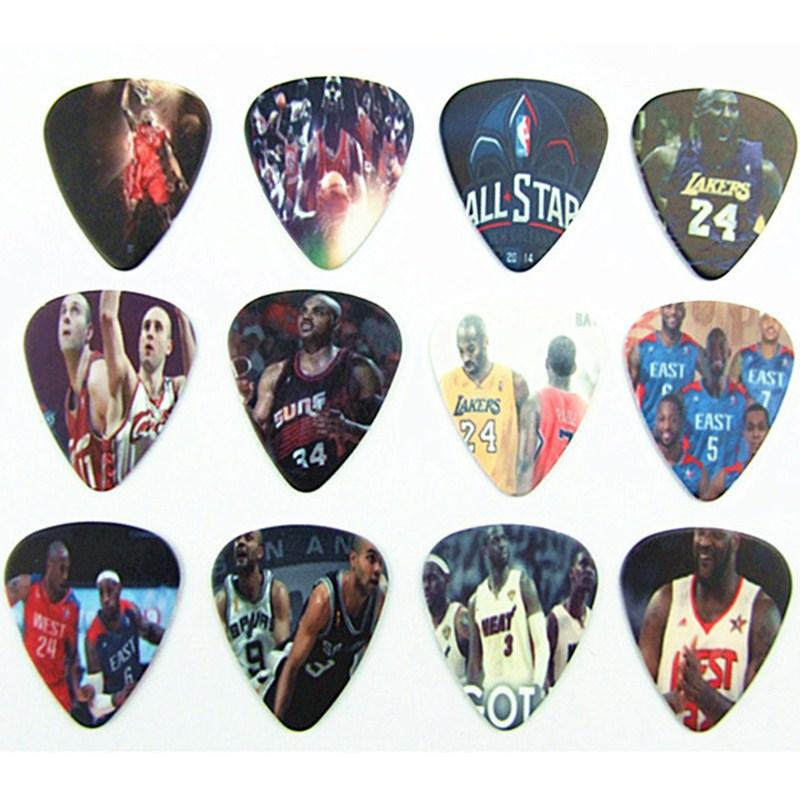 guitar strings guitar picks 10pcs 0.71mm Basketball stars two side earrings pick DIY design guitar accessries pick guitar picks(China (Mainland))