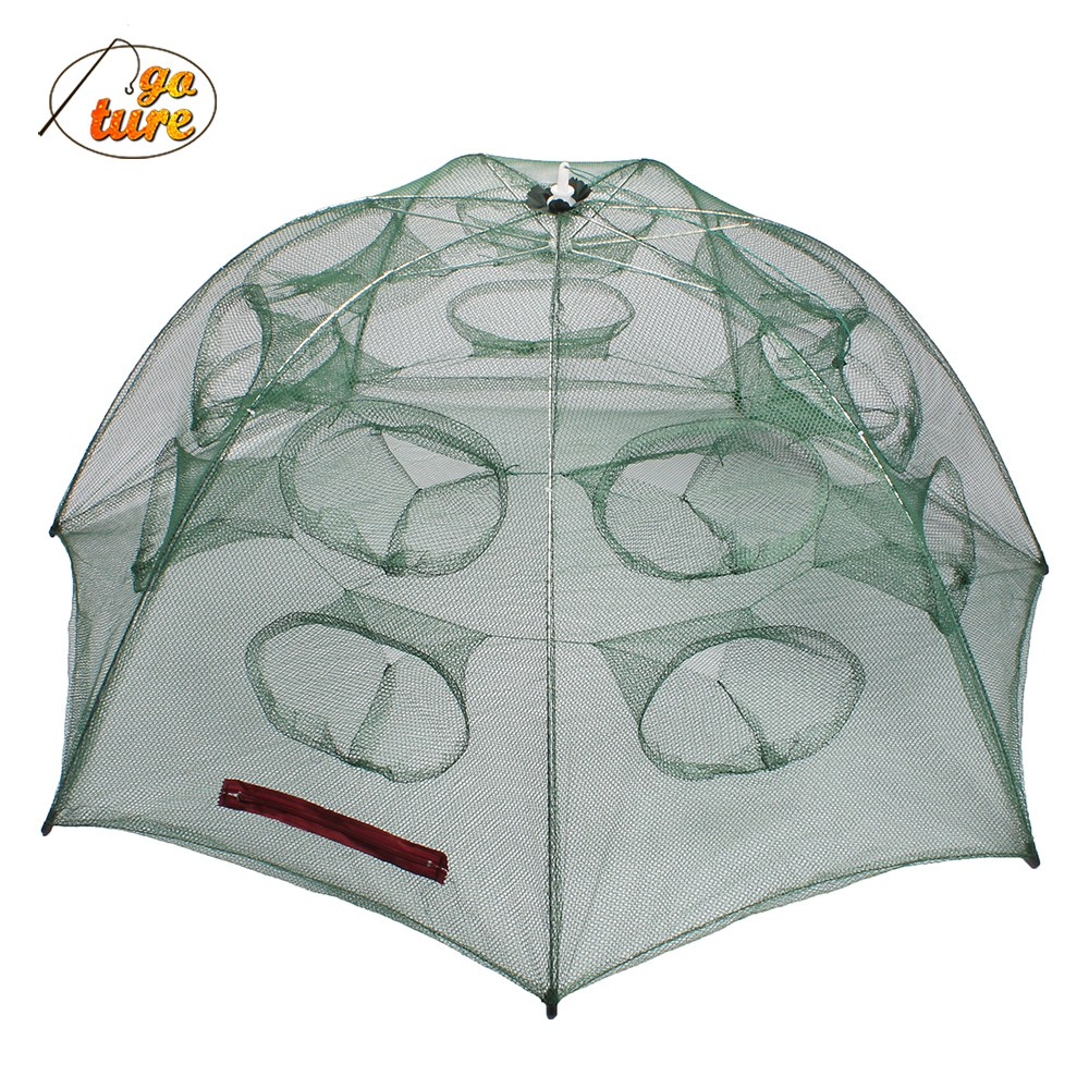 12/16 Holes Automatic Folding <font><b>Fishing</b></font> <font><b>Net</b></font> Shrimp Cage Nylon Foldable Crab Fish Trap Cast <font><b>Net</b></font> Cast Folding <font><b>Fishing</b></font> Network