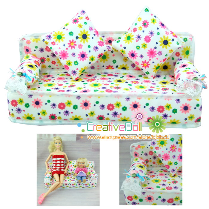 Гаджет  Funny toys for baby girls play house toys Mini Dollhouse Furniture Flower soft sofa with cushions doll house for barbie doll None Игрушки и Хобби