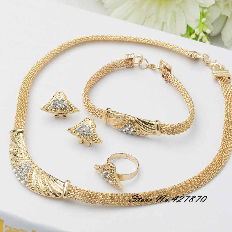 High Quality 18K Gold Filled Vintage Style Women Wedding Jewelry Sets Luxury Elegant Design Necklace Sets African Fashion J041(China (Mainland))