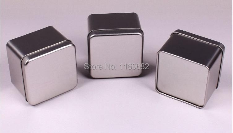 7.5x7.5x5.7cm Square useful tea iron case / storage case / silver tea tin box / wholesale(China (Mainland))