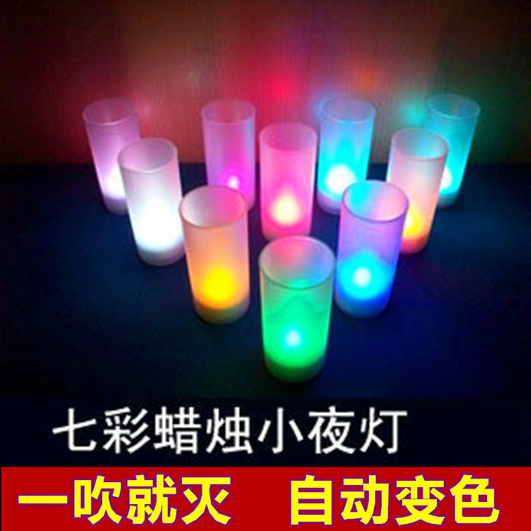 Fulong new voice projection lamp night light electronic candle lights flashing colorful creative stall selling induction lamps(China (Mainland))