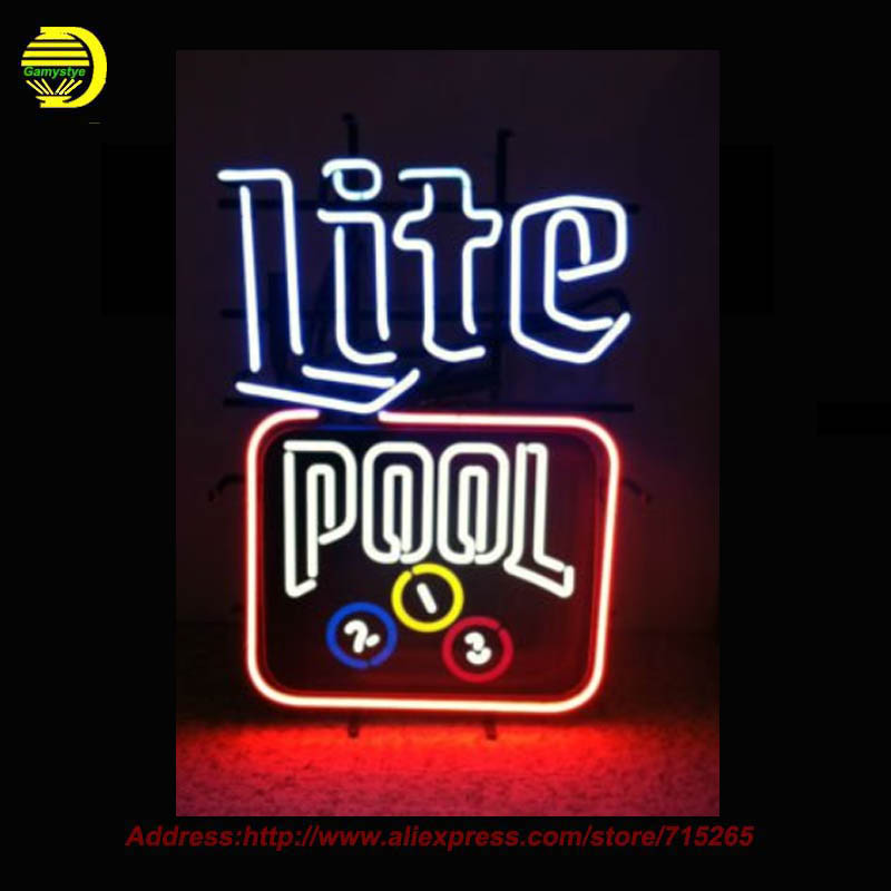 Lite beer Pool table Neon Sign Neon Bulbs Room Recreation Glass Tube Handcraft Super Bright Affiche custom business signs 19x15(China (Mainland))