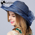 Ladybro Summer Ladies Hat Leisure Beach Women Sun Hat Elegant Cute Wide Brim Hat Silk Flower