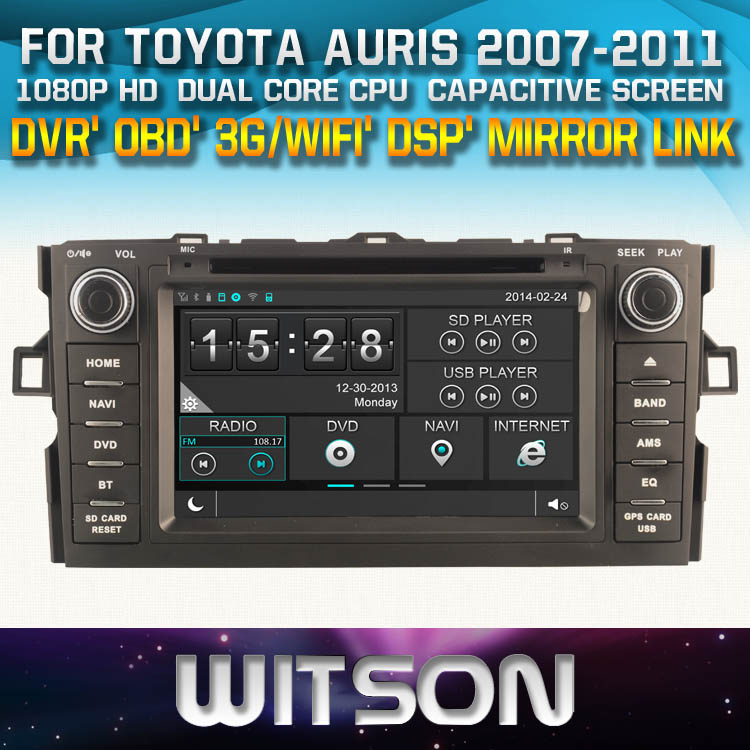 WITSON CAR DVD GPS For TOYOTA AURIS car audio navi with Capctive Screen 1080P DSP WiFi 3G OBD DVR Good Price GIFT+Free shipping(China (Mainland))