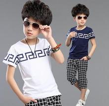 2016 New Summer Boys Clothing Set Short Sleeve Shirts Plaid Shorts Boys Summer Set  For 3 To 15Y Kids Children Clothing Set(China (Mainland))