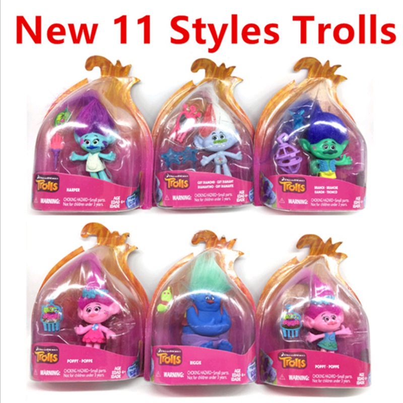 2016 New Trolls Dreamworks Movie Trolls Action Figure Toys Poppy Branch Kawaii Cartoon Trolls Dolls Toys for Children Kids Gifts(China (Mainland))