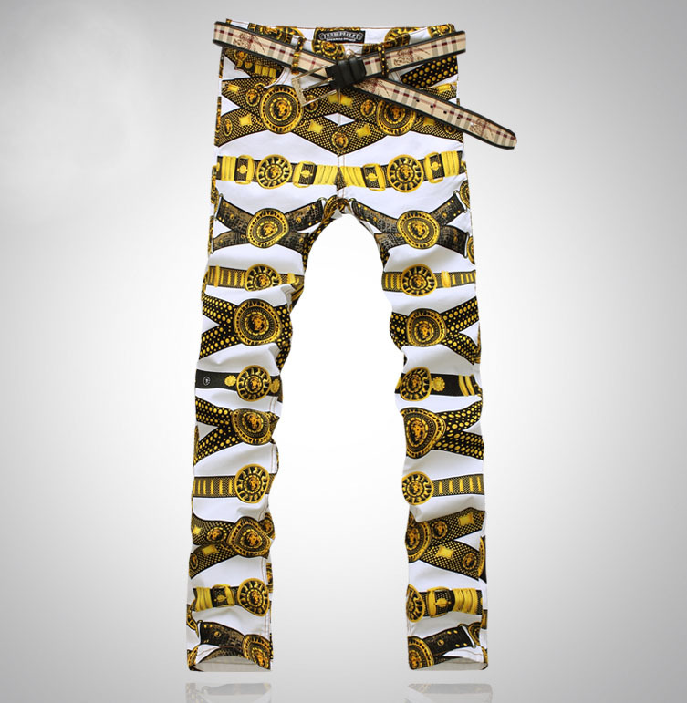 Men's slim colored drawing flower print jeans Male gold lion painted denim pants trousers Free shipping(China (Mainland))