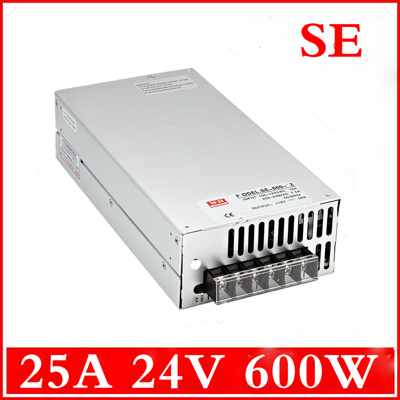 (SE-600-24) 110VAC(220VAC) to 24v DC 600W Switched-mode power supply 25A 24V 600W led switching power supply